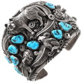 Large Sterling Silver Navajo Wild Animal Cuff Bracelet 40094