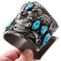 Wide Sterling Silver Turquoise Cuff Bracelet Animal Totem Design 40094
