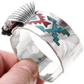 Turquoise Coral Chip Inlay Navajo Pattern Silver Watch 40096