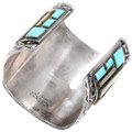 Authentic Zuni J. Quam Sterling Silver Turquoise Inlay Bracelet Signed 40100