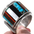 Sterling Silver Shell Spiderweb Turquoise Cuff Bracelet 40102