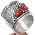 High Grade Red Coral Solid Sterling Silver Cuff Bracelet 40103