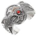 Vintage 14KG Sterling Silver Coral Navajo Cuff Bracelet 40104