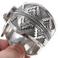 Navajo Bear Symbol Solid Sterling Silver Bracelet 40104