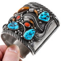 Sleeping Beauty Turquoise Nuggets Sterling Silver Native American Bracelet 40113