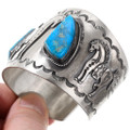 Wide Silver Cuff Candelaria Turquoise Native American Horse Bracelet 40118