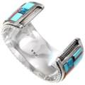 Authentic Zuni Made Inlay Adobe Pueblo Dwelling Bracelet Artist Signed 40126