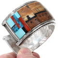 Intricate Zuni Gemstone Inlaid Pueblo Design Bracelet 40126