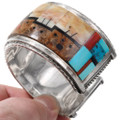 Sterling Silver Construction Turquoise Inlay Zuni Bracelet 40126