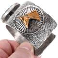 Silver Gold Horse Bracelet Gem Grade Lander Turquoise 40147