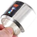 Gemstone Inlay Kachina Design Sterling Silver Navajo Bracelet 40148