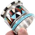 Intricate Multistone Inlay Pattern Sterling Silver Bracelet 40150