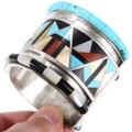 Native American Geometric Design Gemstone Cuff Bracelet 40150