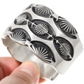 Deep Navajo Pattern All Silver Navajo Cuff Bracelet 40156