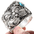 Large Silver Wolf Design Turquoise Coral Native American Bracelet 40158