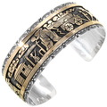 Gold Silver Navajo Storyteller Cuff Bracelet 40140