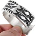 Hand Hammered Navajo Pattern All Silver Cuff Bracelet 40185