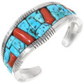Old Pawn Sleeping Beauty Turquoise Coral Bracelet 40188