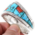Vintage Arizona Turquoise Inlay Solid Sterling Silver Cuff 40188