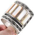 Shell Turquoise Sterling Silver Zuni Cuff Bracelet 40191