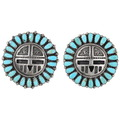 Matching Sunface Kachina Kingman Arizona Turquoise Earrings 40194