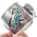 Gemstone Inlay Blue Bird Design Sterling Silver Turquoise Watch 40203