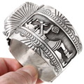Navajo Sterling Overlay Kachina Design Silver Watch 40204