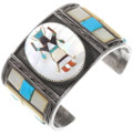 Native American Turquoise Inlay Kachina Bracelet 40216