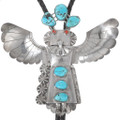 Large Vintage Sterling Silver Turquoise Kachina Bolo Tie 40221