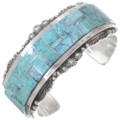 Vintage Sterling Silver Turquoise Inlay Cuff Bracelet 40226