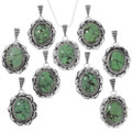 Sterling Silver Green Spiderweb Turquoise Pendants 40238
