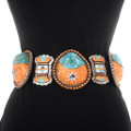 Turquoise Inlay Spiny Oyster Santo Domingo Concho Belt 40249