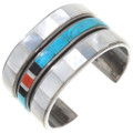 Vintage Inlaid Turquoise Shell Sterling Silver Cuff Bracelet 40250