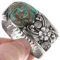 Carved Turquoise Native American Sterling Silver Bracelet 40253