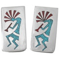 Turquoise Coral Chip Inlay Navajo Money Clip 40256