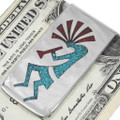 Turquoise Inlay Navajo Silver Money Clip 40256