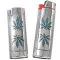 Turquoise Inlay Cannabis 420 Lighter Cover 42058