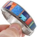 Colorful Geometric Inlay Turquoise Bracelet Signed 40265