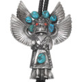 Vintage Turquoise Sterling Silver Kachina Bolo Tie 40293