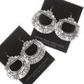 Native American All Silver Western Earrings 40352