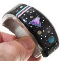 Detailed Gemstone Inlay Navajo Bracelet 40368