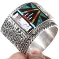 Colorful Multi Stone Zuni Geometric Pattern Cuff Bracelet 40369