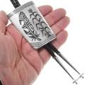 Hopi Feather and Corn Design Native American Bolo Tie 40374