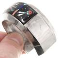 Gemstone Inlay Kachina Design Sterling Silver Cuff Bracelet 40383