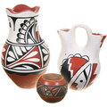 Vintage 1970s Hand Painted Jemez Wedding Vase Pottery 40402