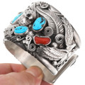 Sterling Silver Bear Cuff Turquoise Coral Navajo Bracelet 40466