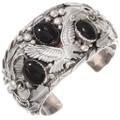 Vintage Navajo Onyx Sterling Silver Eagle Bracelet 40468