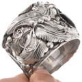 Detailed Sterling Silver Navajo Design Onyx Cuff Bracelet 40468