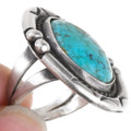 Vintage 1970s Turquoise Sterling Silver Ring 40473