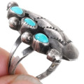 Three Stone Turquoise Silver Leaf Ring 40478